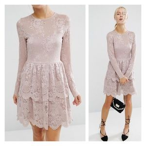 asos • mini skater dress with lace tiered hem